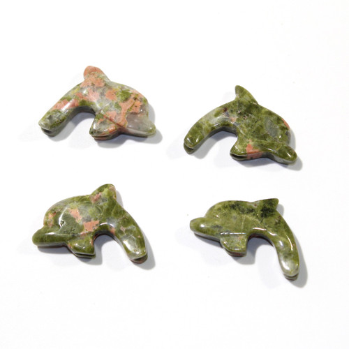 Unakite Dolphin Fetish Pendants | Top Drilled
