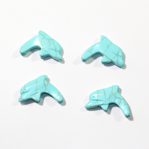 Imitation turquoise Dolphin Fetish Pendants | Top Drilled