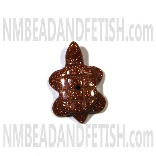 Gold Stone Turtle Fetish Bead