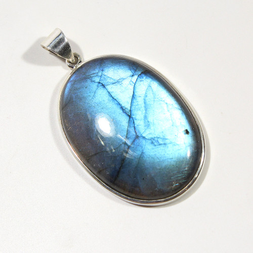 Labradorite Large Oval Pendant wrapped in Sterling Silver 61x36mm