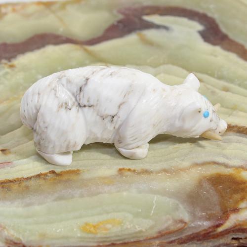 Javelina Fetish carved by Scott Garnaat | White Marble