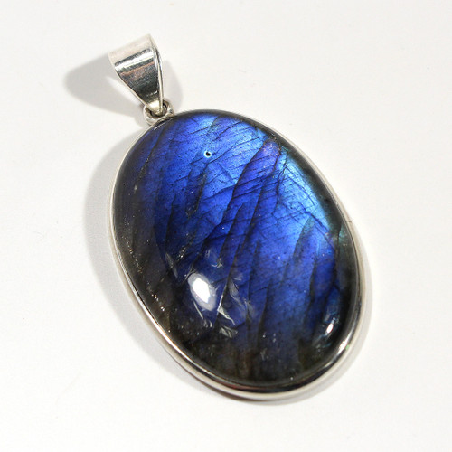 Large Labradorite Oval Pendant wrapped in Sterling Silver | 63x33mm