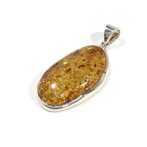 Amber Freeform Sterling Silver Pendant | 47x22mm