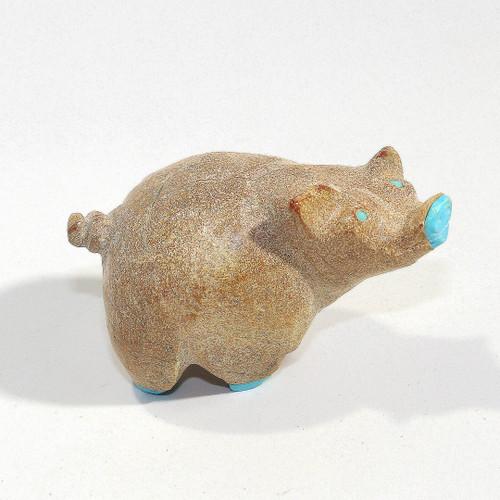 Pig Fetish Carved by Freddie Leekya | Dolomite