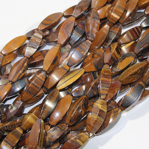 Tiger Iron 4 sided Rice beads | 30 x 10 mm