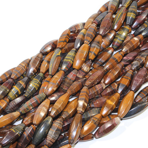 Tiger Iron 6 sided Rice beads | 30 x 10 mm