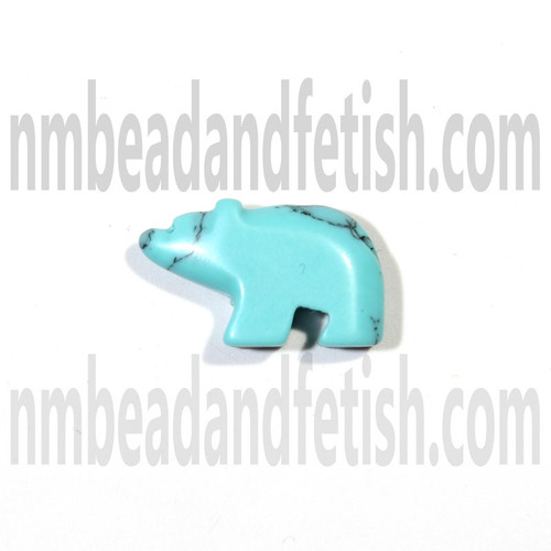 Block Kingman Turquoise Bear Fetish Bead