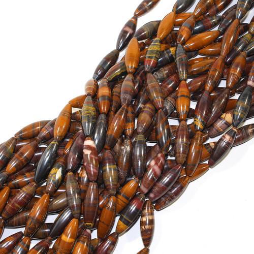 Tiger Iron Round Rice beads | 30 x 10 mm