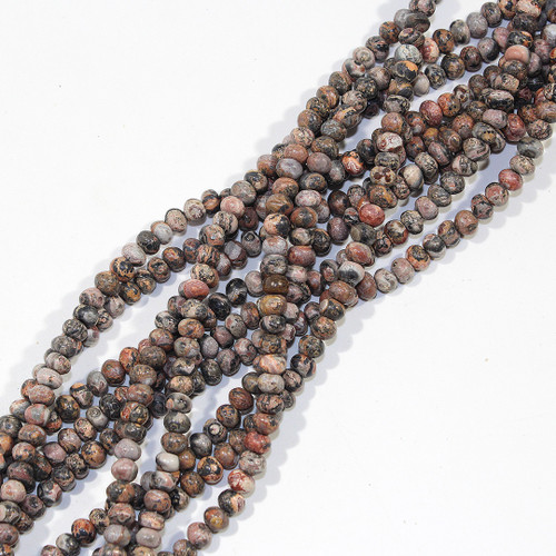 4mm Red Leopard Skin Jasper Rondelles | $3.50 Wholesale