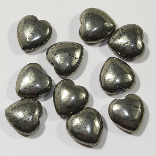 Pyrite Heart Beads 12mm | 10ct Bag