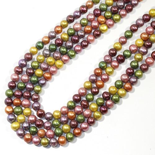 7mm Metallic Multi Color Freshwater Pearls | $14 Wholesale