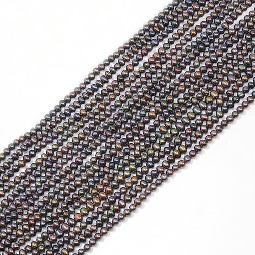 3.5-4mm Metallic Peacock Freshwater Pearls | $12 Wholesale