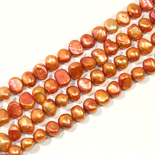 8mm Metallic Copper Bean Shaped Freshwater Pearls   CLOSEOUT