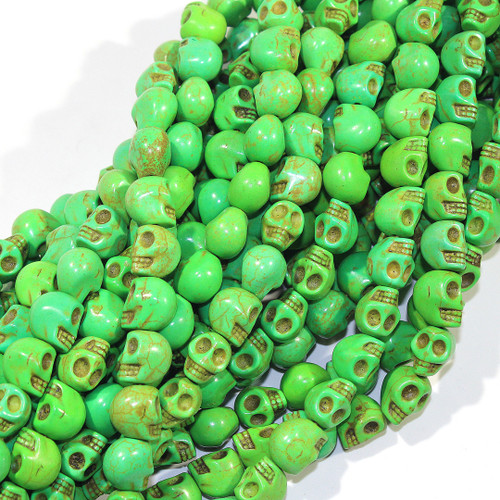 Green Dyed Magnesite Skull Beads