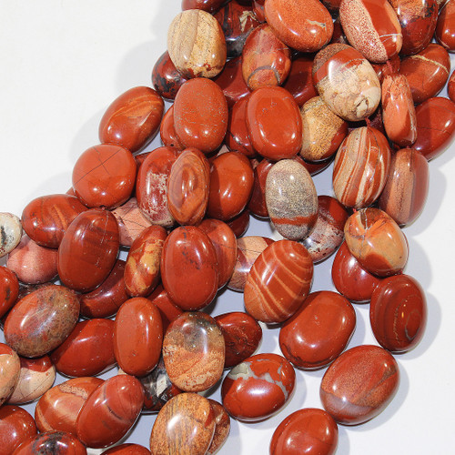 Red Jasper Puff Ovals 23x16mm | $8 Wholesale