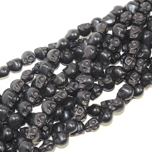Black Dyed Magnesite Skull Beads