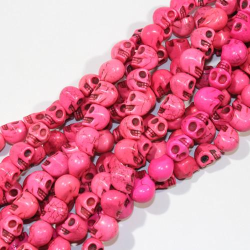 Fuchsia Dyed Magnesite Skull Beads
