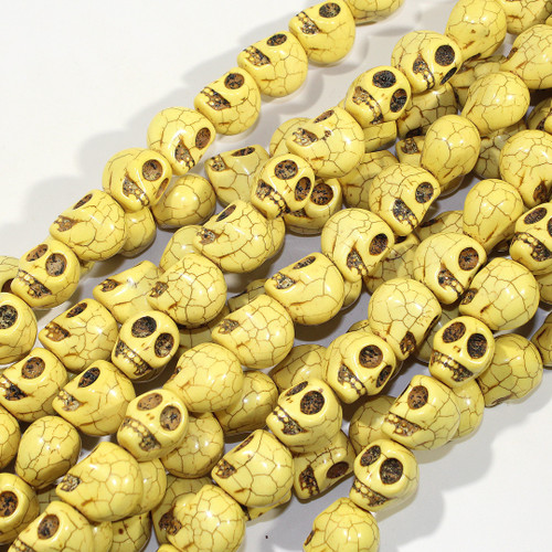 Large Yellow Magnesite Skull Beads