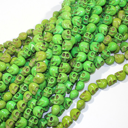 Large Green Dyed Magnesite Skull Beads