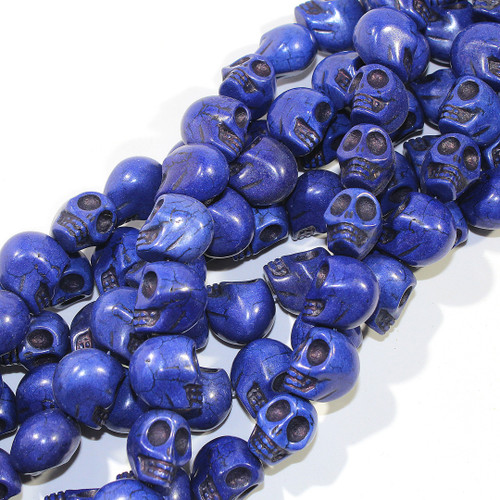 Magnesite Skull Beads | Large | Royal Blue Dyed