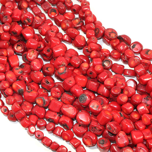 Red Coral (dyed) Freeform Coins | 13 x 8 mm