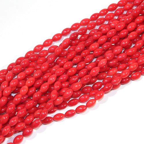 Red Coral 5mm Rice beads | Branch Coral