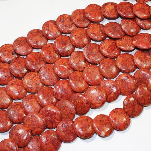 Sponge Coral - Dyed | Coins - Lentil-Drilled 20mm | Wholesale $12