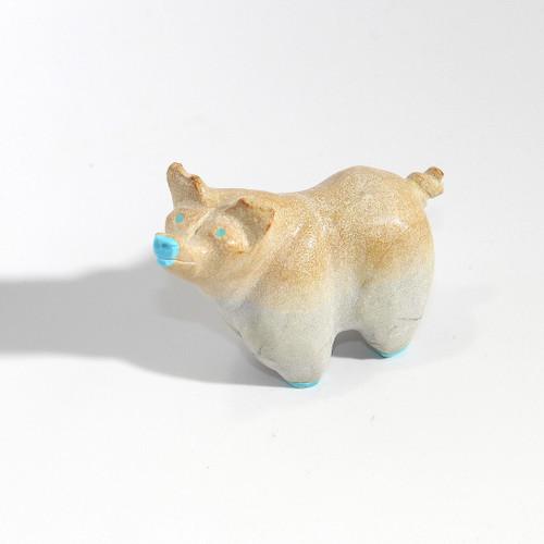 Freddie Leekya Pig Fetish | Zuni Dolomite and Turquoise