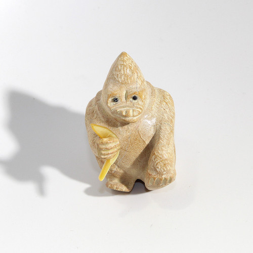 Freddie Leekya Gorilla with Banana Fetish   Zuni Dolomite and Mother of Pearl #2
