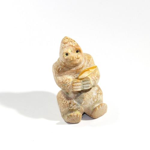 Freddie Leekya Gorilla with Banana Fetish   Zuni Dolomite and Mother of Pearl #3