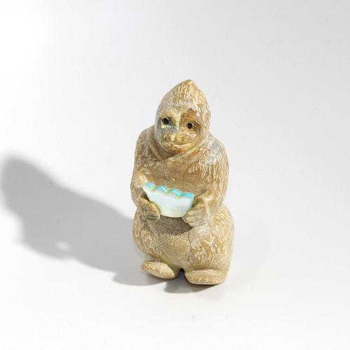 Freddie Leekya Gorilla with Sandwich Fetish   Zuni Dolomite and Mother of Pearl
