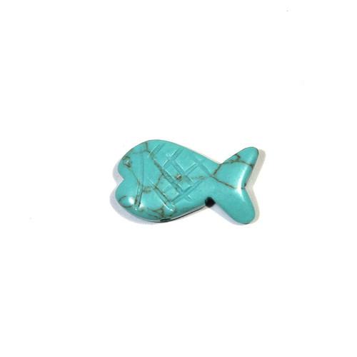 Block Kingman Turquoise Fish Fetish Bead