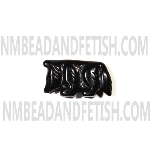 Black Stone Wolf Fetish Bead