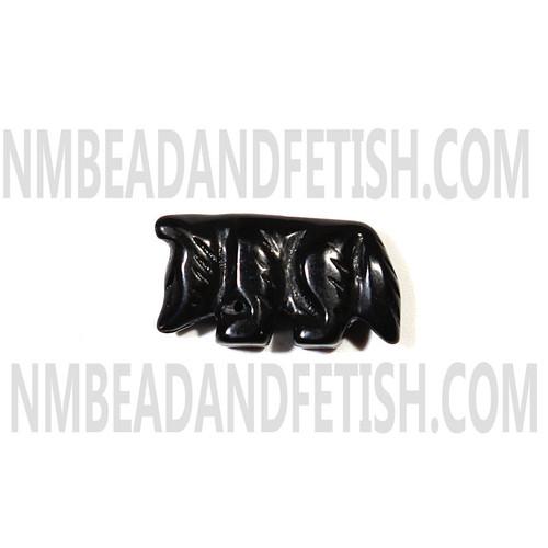 Black Stone Wolf Fetish Bead