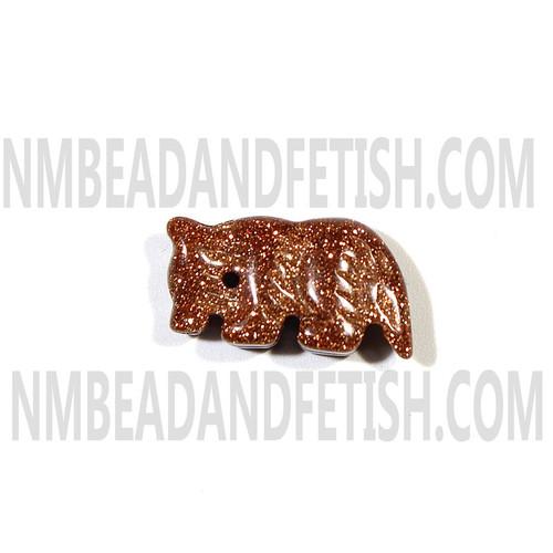 Gold Stone Wolf Fetish Bead
