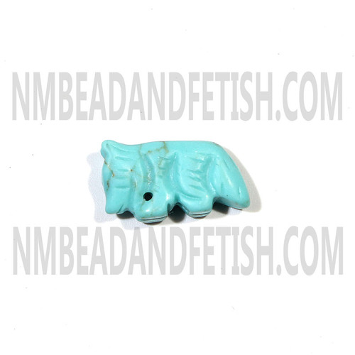 Block Kingman Turquoise Wolf Fetish Bead