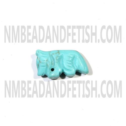 Block Kingman Turquoise Wolf Fetish Bead