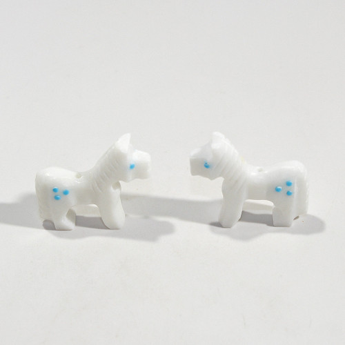 Todd Etsate Horse Bead Pair | White Marble