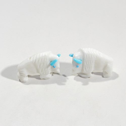 Todd Etsate Buffalo Bead Pair | White Marble