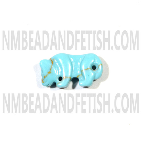 Block Kingman Turquoise Mountain Lion Fetish Bead