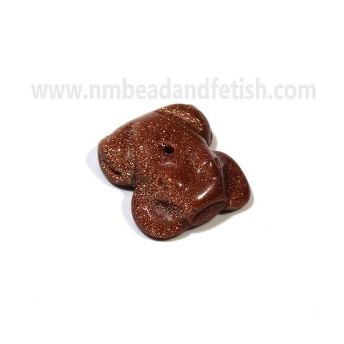 Goldstone Frog Zuni Fetish Bead