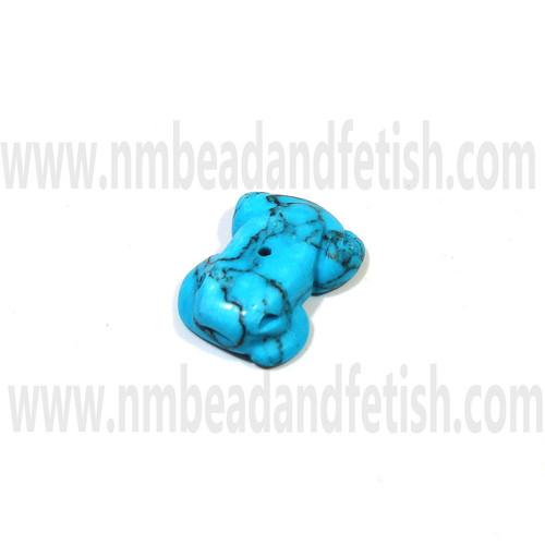 Dark Matrix Block Turquoise Frog Zuni bead