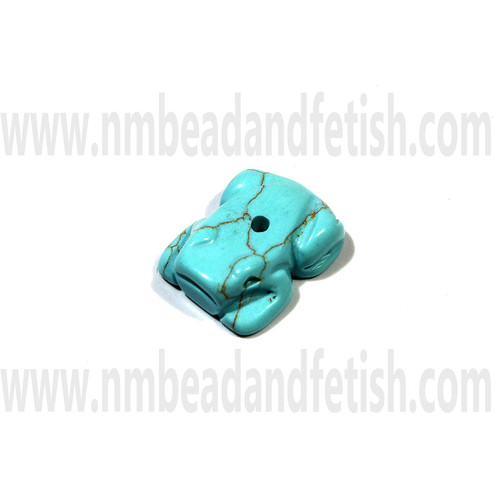 Block Kingman Turquoise Frog Fetish Bead