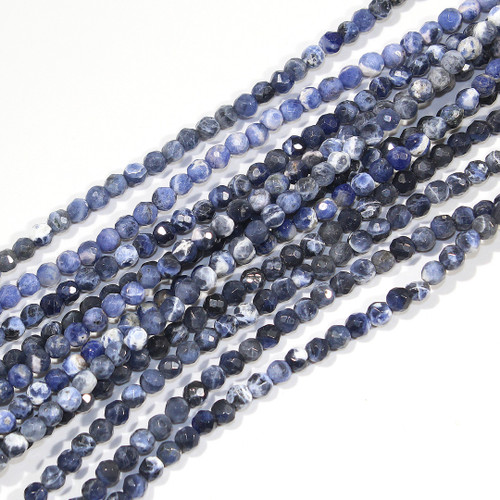 3mm Faceted Sodalite Rounds | $8 Wholesale