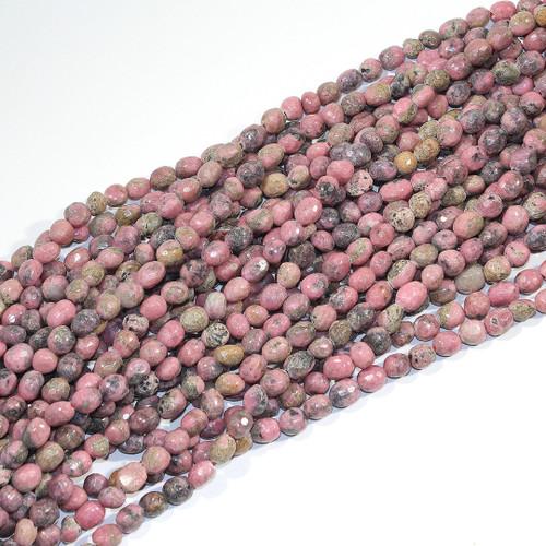 6-8mm Rhodenite Faceted Pebbles | $6.50 Wholesale