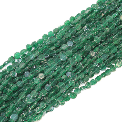 6-8mm Green Tourmaline Coin Beads | $12 Wholesale