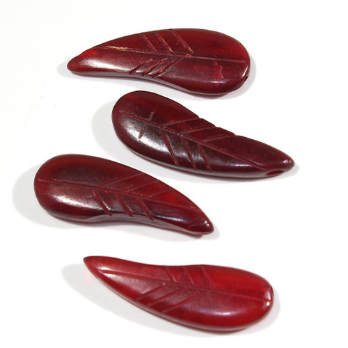 Red Horn Leaf Beads | Small