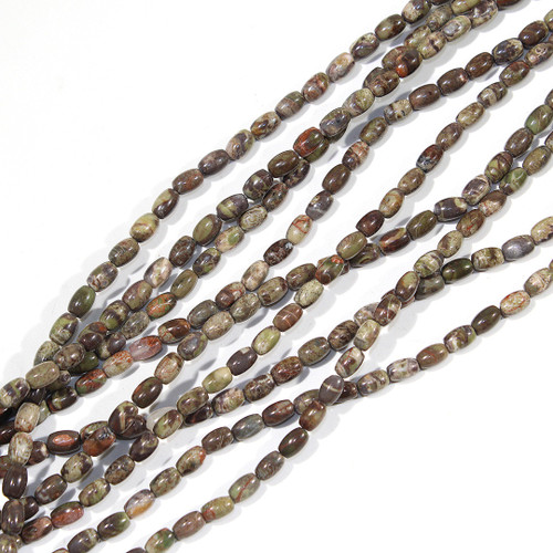 Mushroom Rhyolite 4x6mm Rice Beads | $3.60 Wholesale