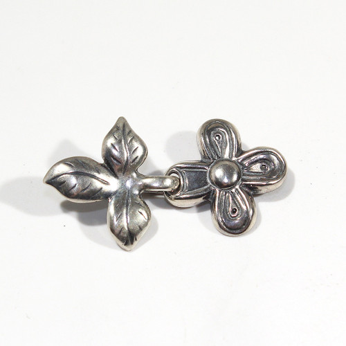 Sterling Silver Flower and Leaf Clasp 35mm