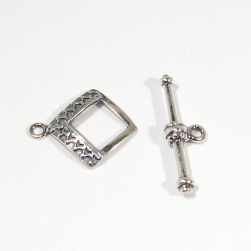 Sterling Silver Decorative Small Square Clasp